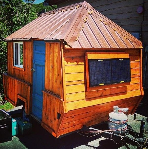 Homemade Cabin On Wheels | Man Converts Pop Up Trailer into Micro Cabin on Wheels Photo
