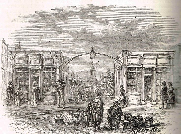 Fleet Market erected in 1736 on the culverted Fleet River. It in turn was cleared in 1829 to build Farrigndon Street.