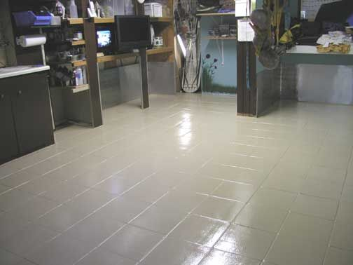 Epoxy painted tile floor floors pinterest painted tiles tile flooring and epoxy - Can i paint over bathroom tiles ...