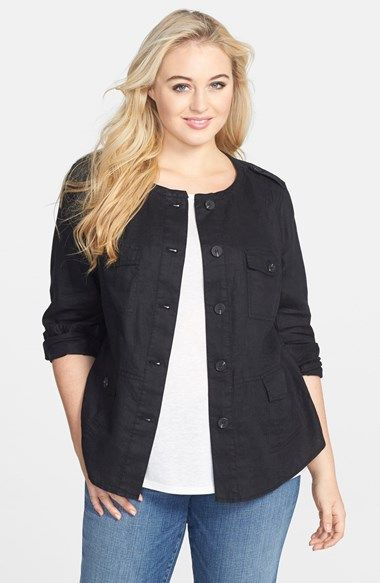 Two by Vince Camuto Linen Utility Jacket (Plus Size) available at #Nordstrom