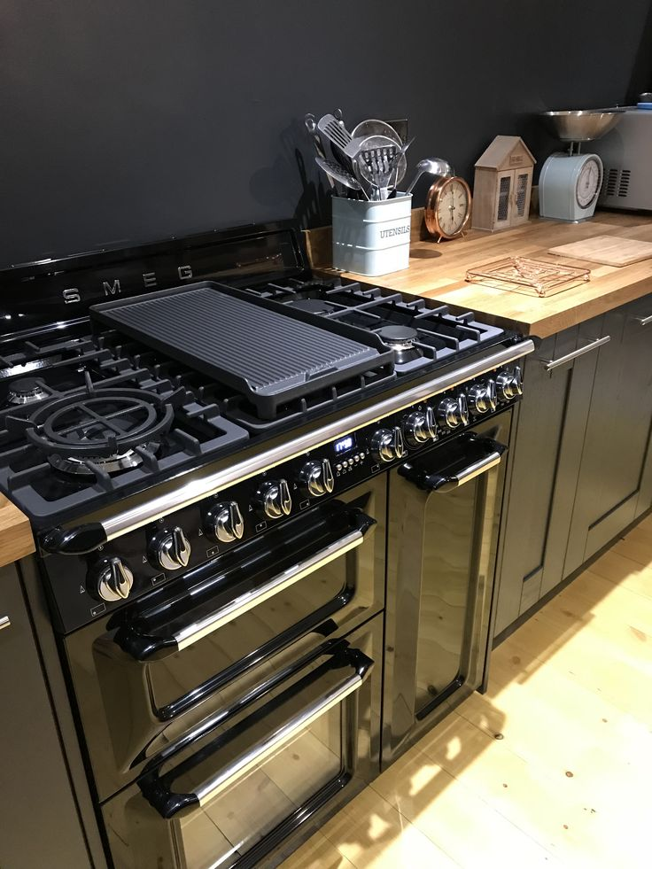 Black kitchen units, Smeg range cooker, butchers block, black kitchen, dark grey kitchen
