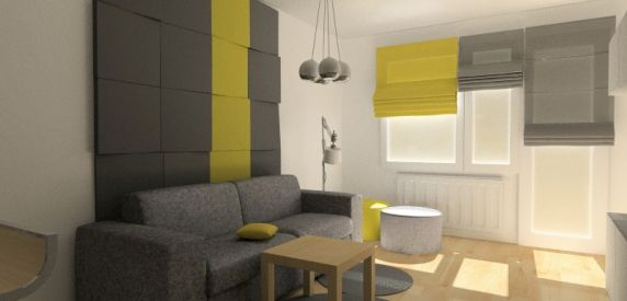 Wizualizacja. Panele Cube, mieszkanie prywatne. Projekt Iza Szulc Fabryka Nastroju