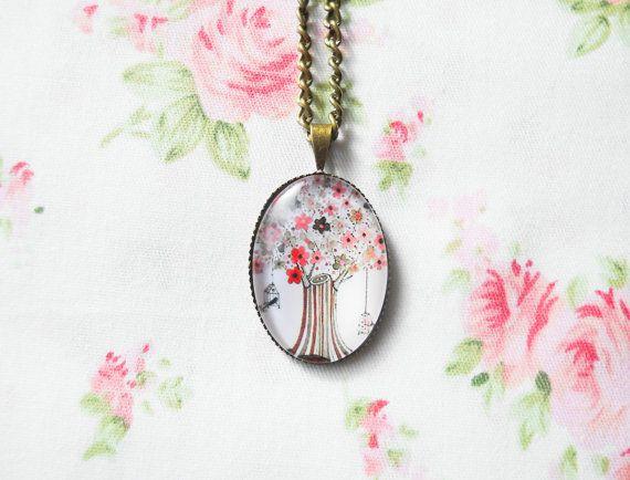 Glass Cabochon Necklace, Antique Bronze Necklace, Brass Necklace, Pendant Necklace, Tree Necklace, Tree Pendant, Vintage Tree, Bird Necklace
