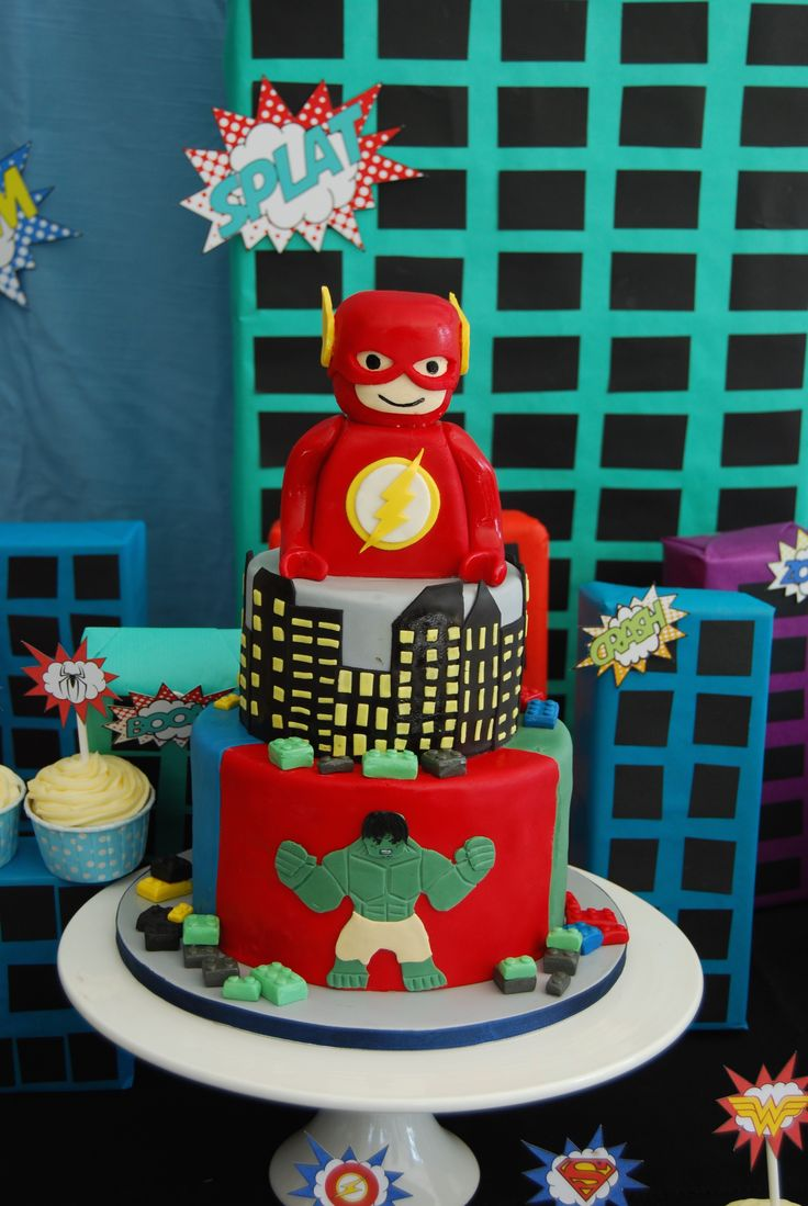 Lego Superhero Cake Lego Flash  Childrens Cakes  Superhero cake Lego superhero cake Lego cake