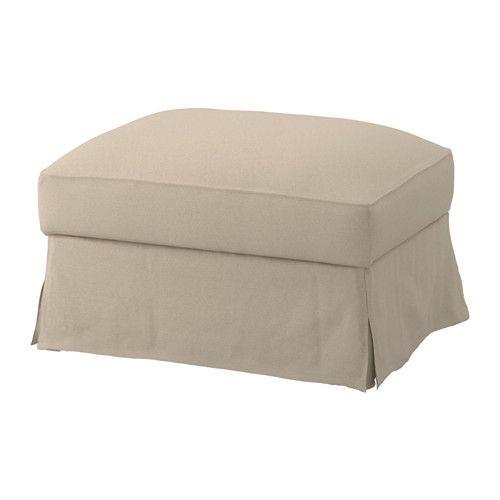 FÄRLÖV Housse pr repose-pieds av rgt IKEA Tissu teint sur fil mêlé à du lin, ce qui donne à la housse une belle tenue.