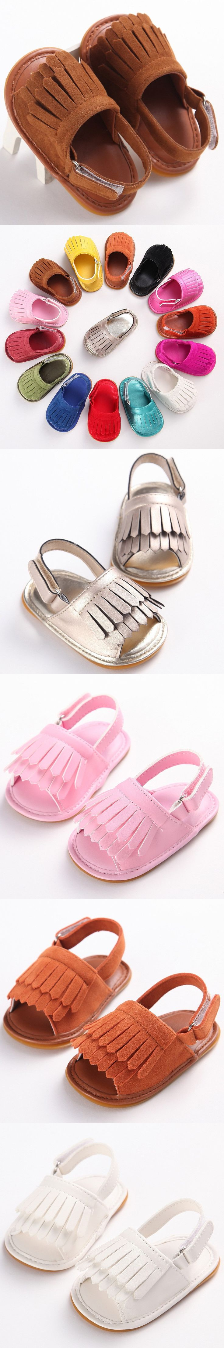 2016 new summer PU Leather hard rubber sole Baby moccasins Girls solid Baby Shoes Infant Toddler First Walkers Anti-slip Shoes
