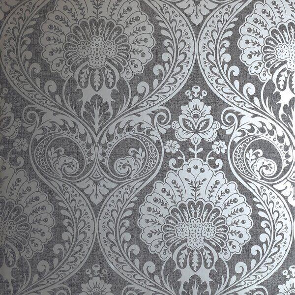 Wickes Luxe 33 L X 20 5 W Wallpaper Roll Grey Damask Wallpaper Damask Wallpaper Silver Wallpaper