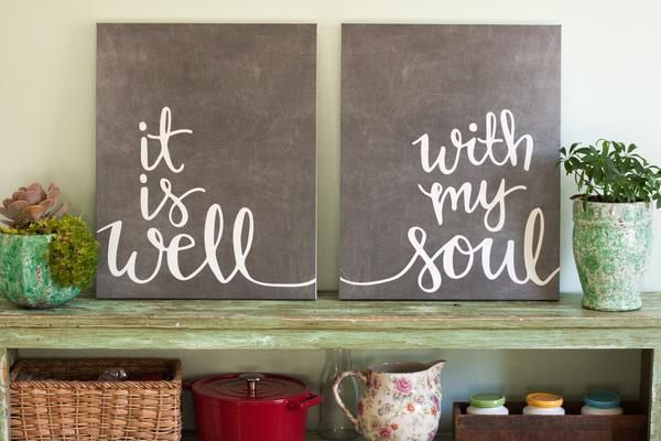 """This design has been a dream of mine for a while. The lyrics to """"It Is Well"""" carry such weight with them. They were written out of tragedy and point to the hope we have in Christ. My prayer is that these art prints would remind you that because of Jesus, you can always sing """"it is well, with my soul."""" May we always remember that the cross holds us together when we feel everything else is falling apart!  These 8x10 art prints are printed on high quality linen paper. A canvas option is also…"""
