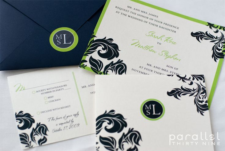 Engagment invites...like the colors black, kelly, green, pale yellow, white.