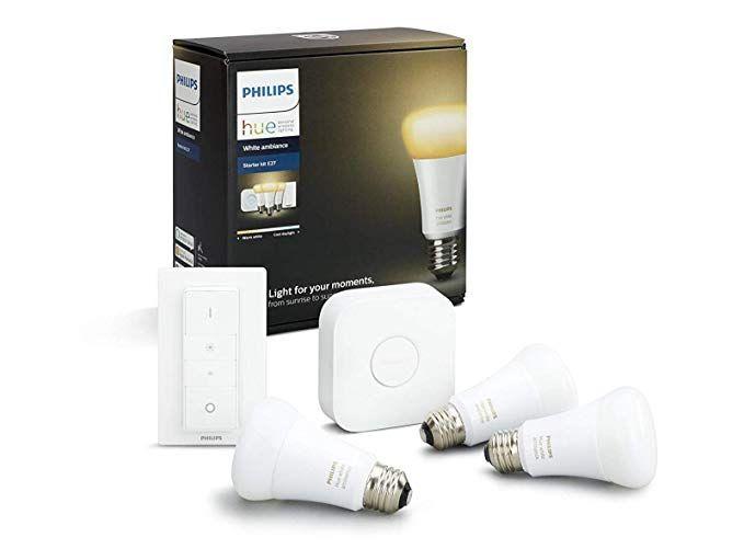 Philips Hue White Ambiance E27 Led Lampe Starter Set Drei Lampen Inkl Bridge Und Dimmschalter Alle Weissschattierungen Steuerbar Via Led Lampe Led Und Lampen