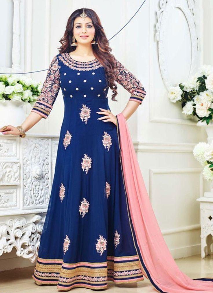 Grandiose Blue Georgette Party Wear Anarkali Salwar Kameez