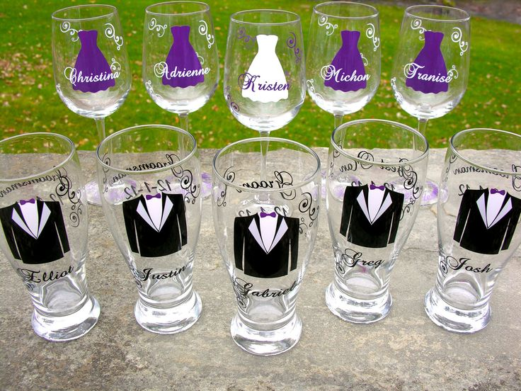Wedding party glasses, wine glasses and beer pilsner glasses.  Bridesmaids and Groomsman gifts.  Plum purple dress and tux glasses. 1 glass. $14.00, via Etsy.