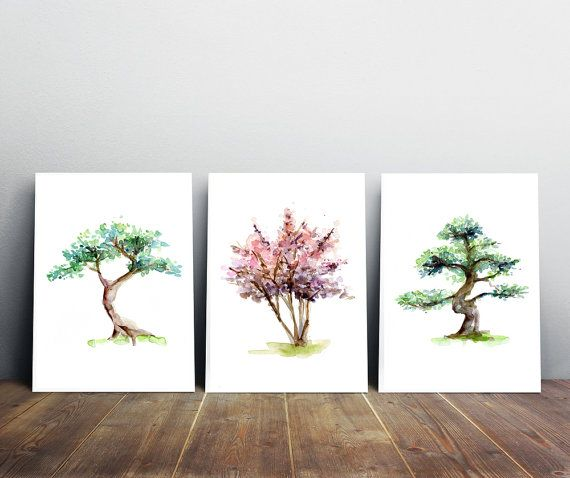 Set van 3 Boom schilderijen  Giclee prints  bonsai door Zendrawing