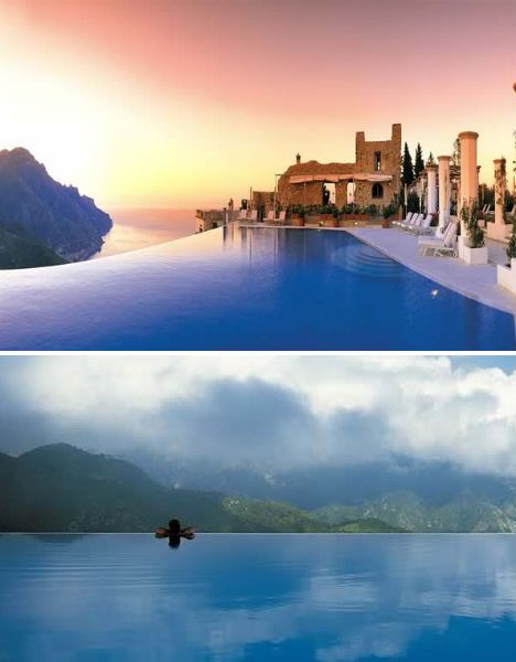 Pool at the Hotel Caruso, Ravello, Italy - this is consistently ranked the most beautiful pool in the world, and I can testify that it is even more amazing in real life. The ruins and pillars you see behind the pool are from the 11th century and now make up the pool bar/restaurant. #travel