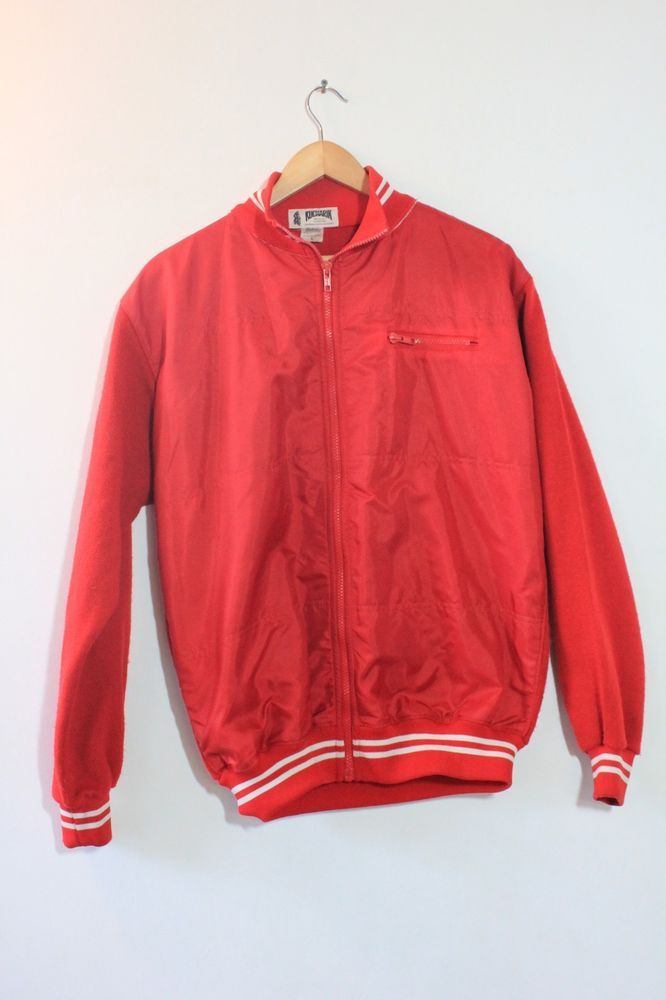 d52e130fe Vintage Kucharik Cycling Jacket Jersey wool   acrylic Sz Large Red  fashion   clothing  shoes  accessories  mensclothing  coatsjacket…