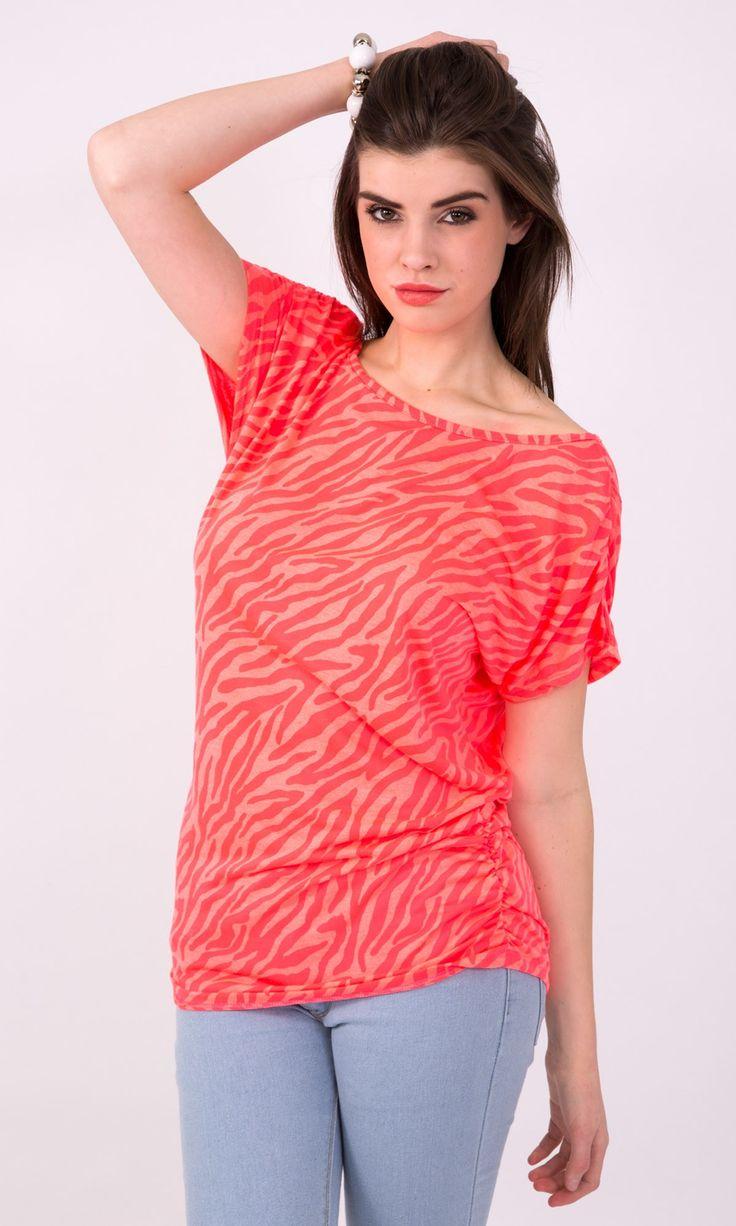Neon Coral Zebra Print Ruched T Shirt