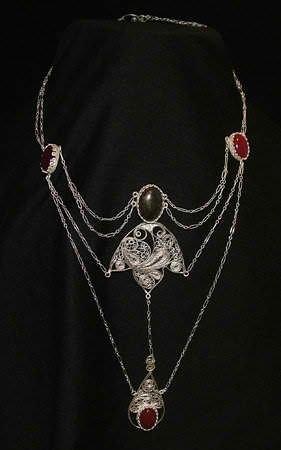 Eduardian style neck piece fine silver, sterling silver, pyrite, carnelian