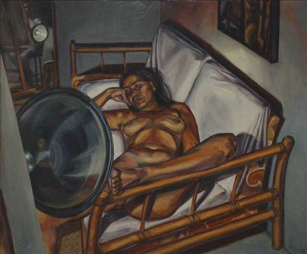 Mark Vazquez-Mackay, Carmen on couch, oil on canvas, 48 x 38 in.