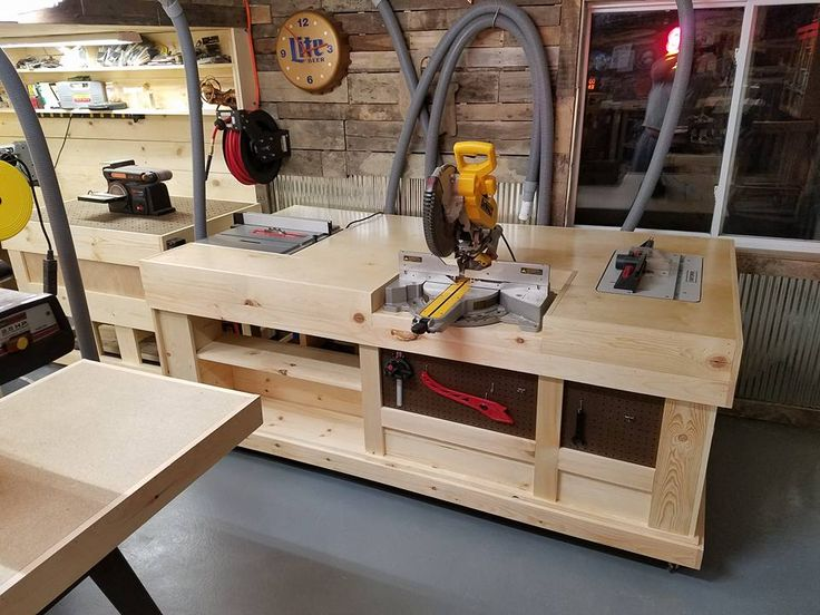 Goetz' custom-made multi-functional workstation encompasses his table saw, miter saw, and router table.