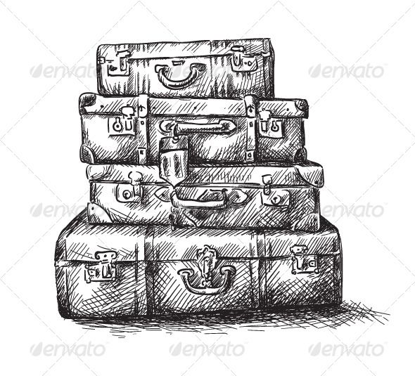 Drawing Of Luggage Bags Graphicriver Sketch Drawing Of