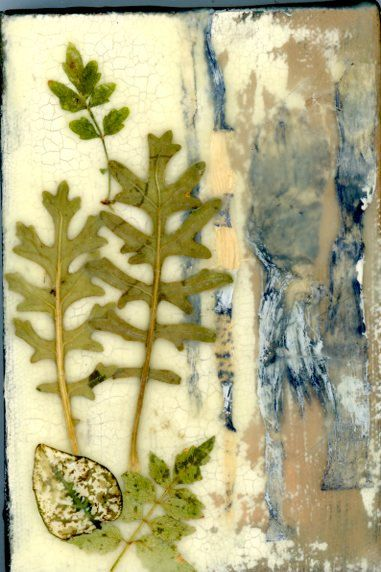 Encaustic art collage painting mixed media art by twocooltexans