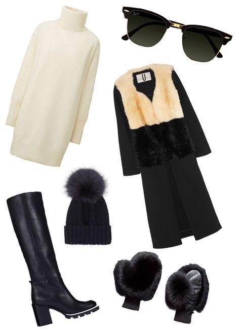 Topshop Unique coat, $800, net-a-porter.com; Whistles boot, $170, whistles.com; Uniqlo dress, $50, uniqlo.com; Inverni beanie, $285, avenue32.com; GlamourPuss NYC mittens, $425, ahalife.com; Ray-Ban sunglasses, $150, net-a-porter.com
