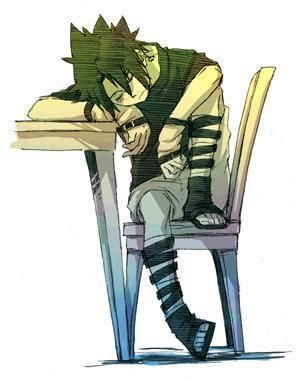 Sasuke Uchiha = Me in school... Trying to look cool but end up falling asleep in same position xD