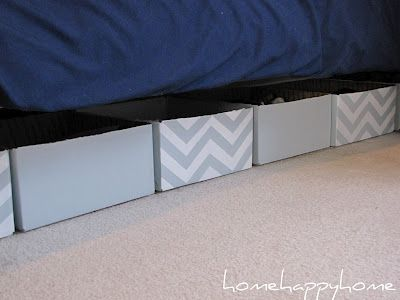 under bed storage made from painted cardboard boxes