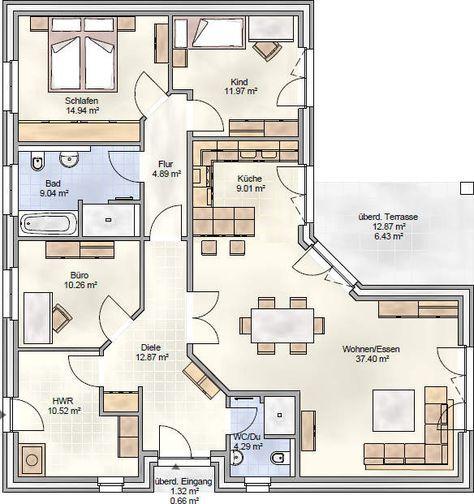 PLAN 132 - unser Winkelbungalow mit über 130 m² Grundriss - ein Bungalow mit überdachter Terrasse