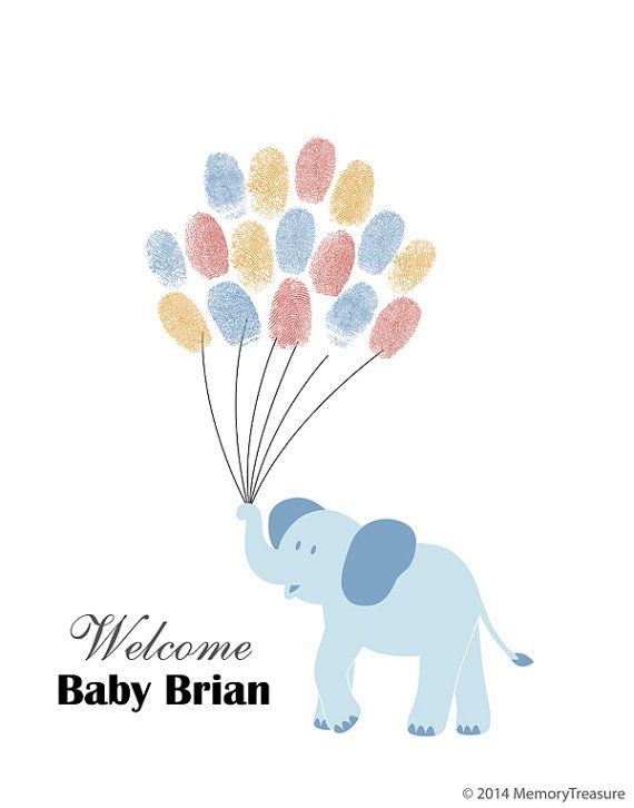 Baby Shower Guest Book Alternative Elephant By MemoryTreasure