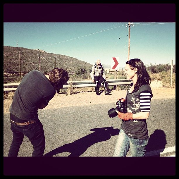 """Rudy and Gemma shooting Bushy for Out on a Limb Charity Expedition Series. We had to leave the body on the side of the road ;-)"" - My #Instagram June 10, 2012"