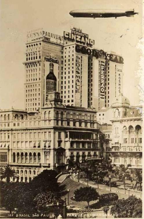 German dirigible Graf Zepellin visiting Sao Paulo, Brazil, in 1933