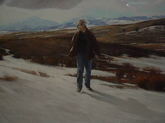 Original oil painting by Michael Hames. The figure seen here is that of the artist walking through some of his favorite landscapes-the rolling hills of southern Alberta.