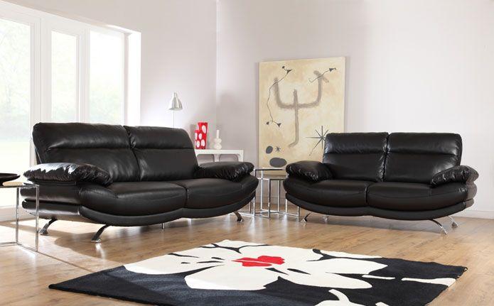 Havana Black Leather Sofas