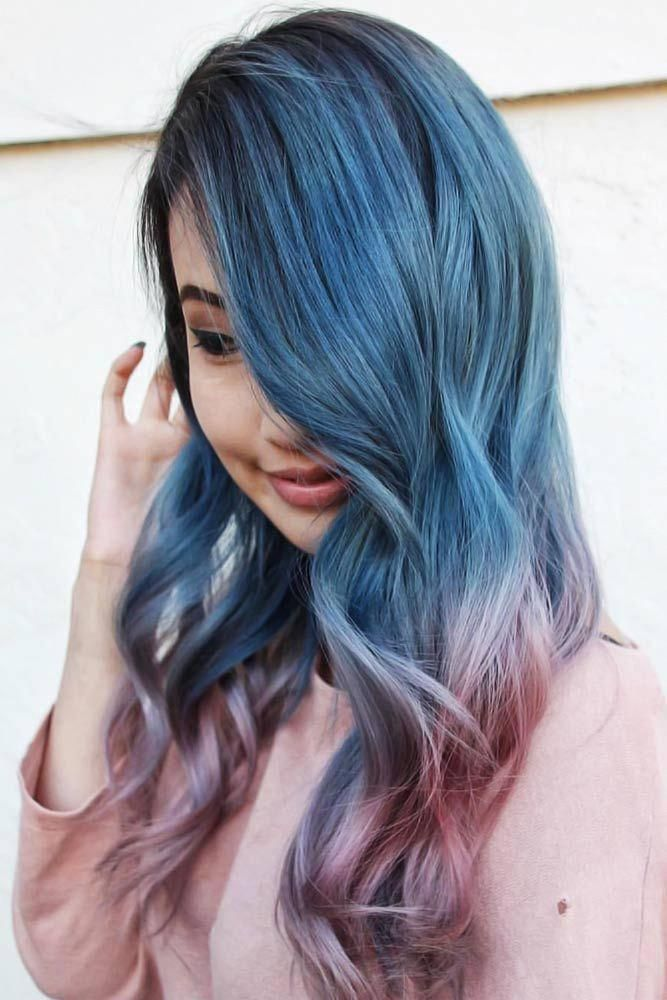 Black Blue Into Smooth Pink Ombre Brunette Highlights Want To