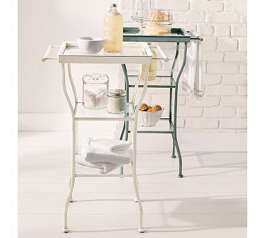 For the bathroom? Need to measure...Painted Metal Accent Table - Large #potterybarn