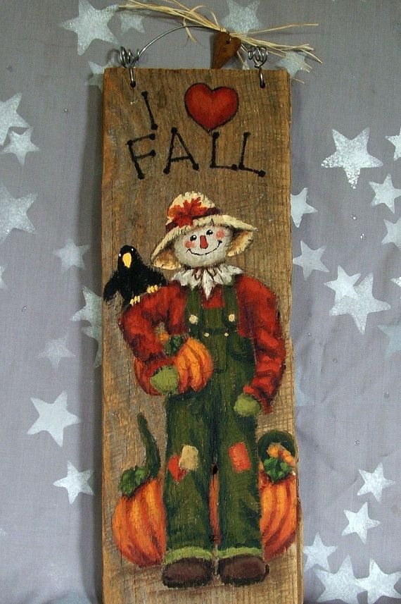 """I Love Fall, scarecrow hand painted on barnwood, 5"""" x 14"""""""