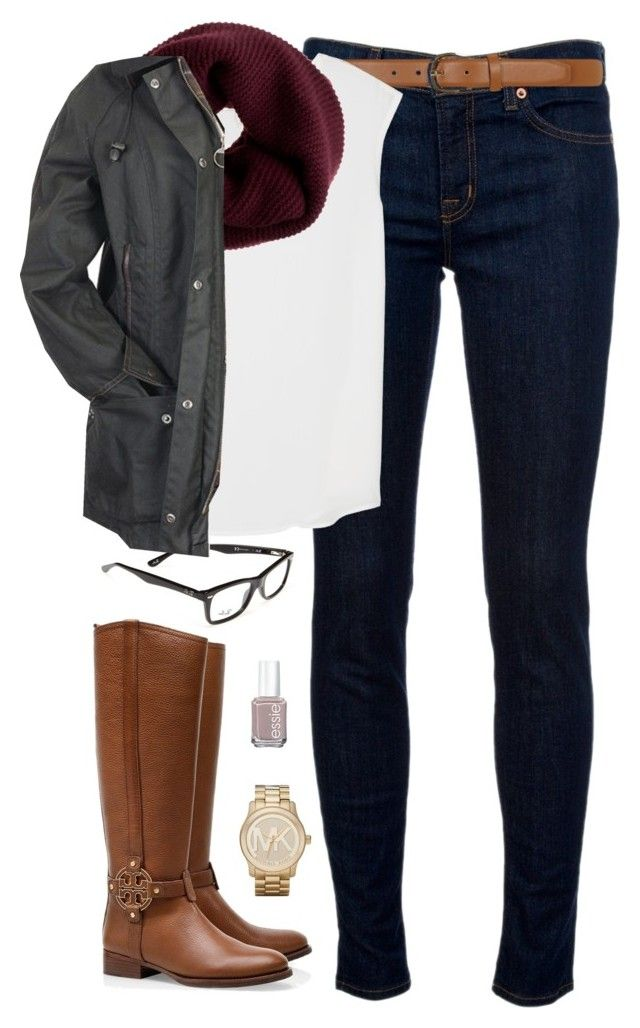"""Barbour & Boots"" by classically-preppy ❤ liked on Polyvore featuring moda, Ray-Ban, J Brand, Dorothy Perkins, Joie, Tory Burch, J.Crew, Barbour, Essie y Michael Kors"