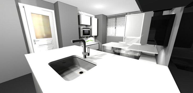 Para salvar el pequeño espacio y llenarlo de luz los colores principales de los muebles son blancos combinados con la pared pitada en gris y las traseras vestidas con cristal templado negro.