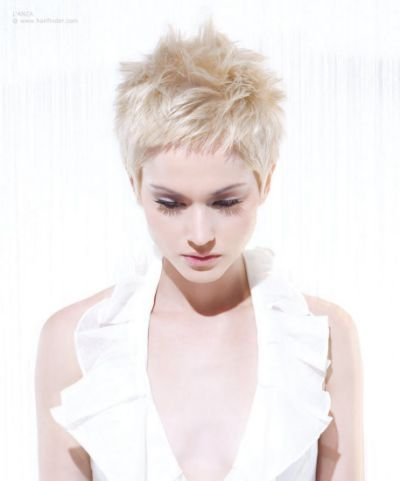 New blonde pixie with spiky styling