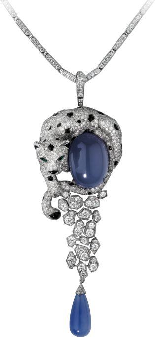 Panthère de Cartier necklace White gold, chalcedonies, diamonds, emeralds, onyx