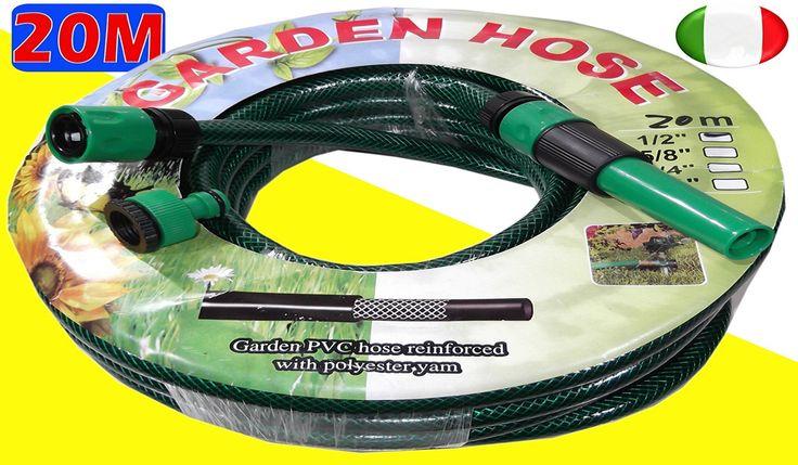 """€ 12,00 - 20 Metri Tubo verde da giardino per irrigazione 1/2"""" più raccordi"""