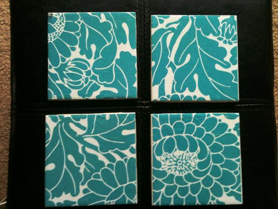 Teal and White Flower Coasters-Set of 4- Bonus Gift Just for ordering.. $10.00, via Etsy.