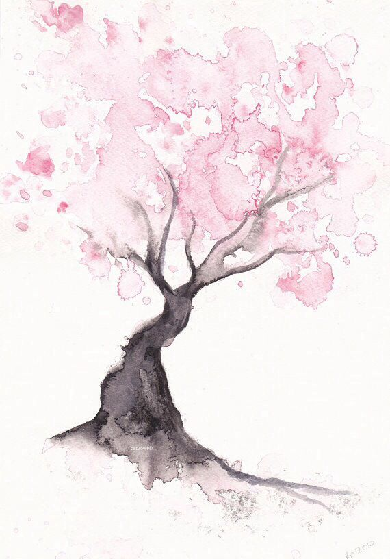 Watercolor cherry tree