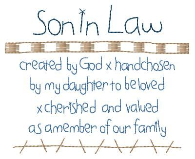 Son in Law Poems | Son In Law Poem Sampler 5x7 : HeartStrings Embroidery, Embroidery ...