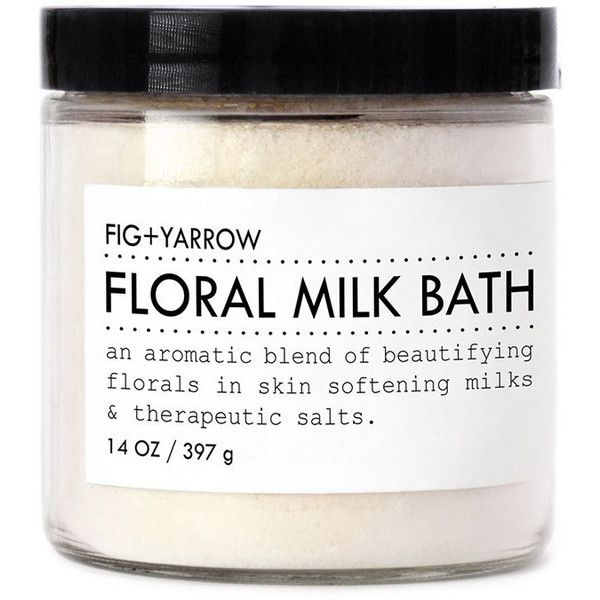 Flroal Milk Bath design by Fig and Yarrow ($32) ❤ liked on Polyvore featuring beauty products, bath & body products, body cleansers and spa essentials