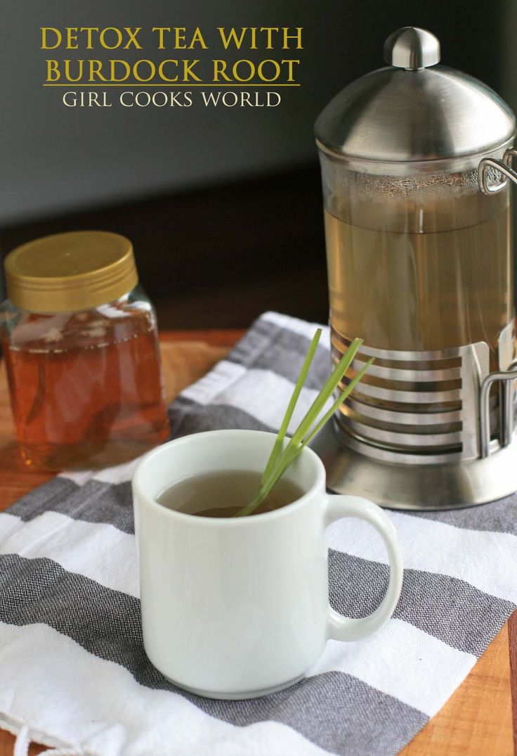 Detox Tea With Burdock Root...Made from the burdock root, ginger, and lemongrass, this tea is like a big, warm hug for your liver.   You can also make it more chai-like by adding a cinnamon stick and some cardamom pods if you'd like.