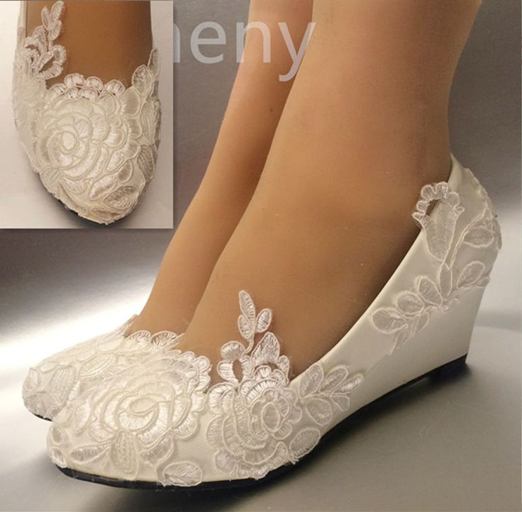 Perfect Silk Satin Rose Lace Wedding Shoes Flat Low High Heel Wedges Bridal Size  5 12