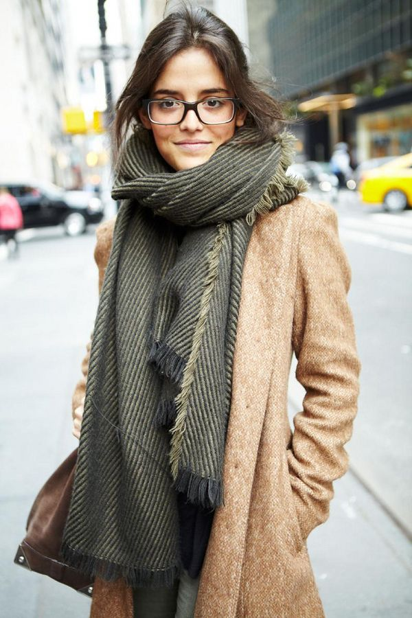big scarf + glasses