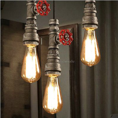 Loft Retro DIY Industrial Iron Pipe Vintage Ceiling Light Pendant Lamp Fixture | eBay